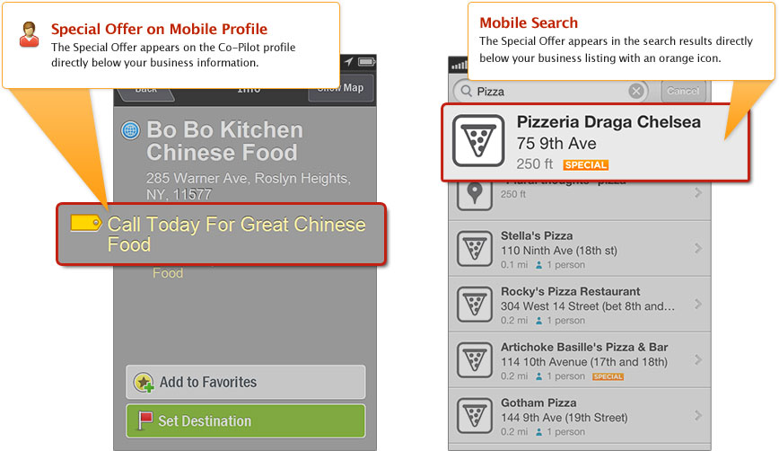 PowerListings Mobile on Co-Pilot and Foursquare